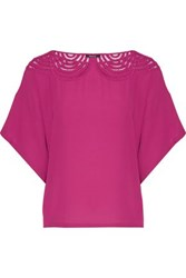 Raoul Mallow Open Knit Paneled Crepe Top Magenta
