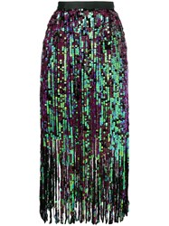 Manoush Fringe Sequin Skirt Black