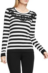 Vince Camuto Women's Lace Trim Stripe Sweater Rich Black