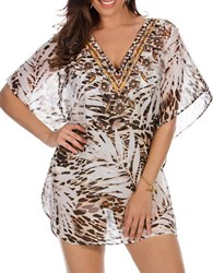 Miraclesuit Sheer Safari Embellished Cover Up Caftan Brown