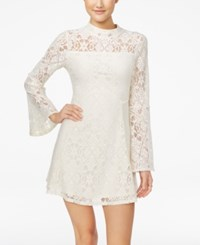Material Girl Juniors' Lace Bell Sleeve Shift Dress Only At Macy's Cloud Dancer