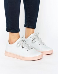 Truffle Collection Pink Sole Trainer Grey Pink Sole