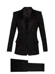 Dolce And Gabbana Floral Brocade And Satin Three Piece Suit Black