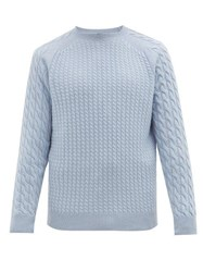 Dunhill Cable Knit Cashmere Sweater Light Blue