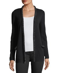 Emporio Armani Hook Front Striped Knit Cardigan With Embellished Trim Black