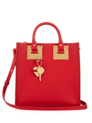 Sophie Hulme Square Albion Leather Tote Red