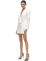 Balmain Satin Double Breast Blazer Dress White