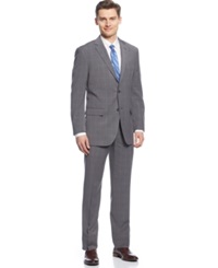 Perry Ellis Grey Plaid Slim Fit Suit
