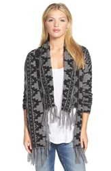 Women's Caslon Fringed Open Front Cardigan Grey Black Southwest Pattern