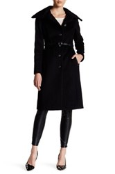 Mackage Genuine Leather Trim Wool Blend Belted Coat Black