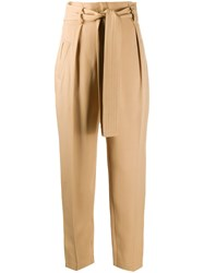 Elisabetta Franchi High Waisted Cropped Trousers Neutrals