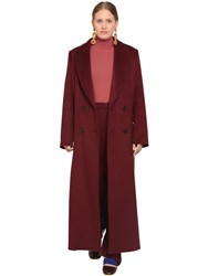 Marina Rinaldi Long Double Breasted Cashmere Coat Bordeaux