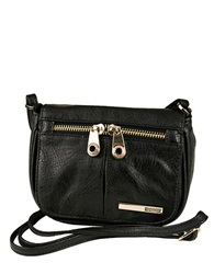Kenneth Cole Reaction Wooster Street Faux Leather Small Flap Crossbody Bag Black