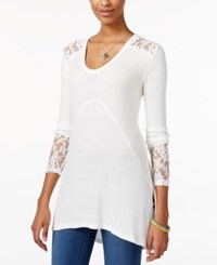 American Rag Long Sleeve Mixed Media Tunic Only At Macy's Egret