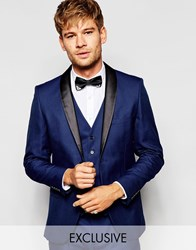 Selected Homme Exclusive Tuxedo Suit Jacket With Shawl Lapel In Skinny Fit Blue