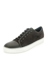 Lanvin Men's Suede Cap Toe Low Top Sneaker Brown