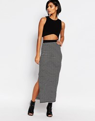 Vero Moda Stripe Tube Skirt Black And White Multi