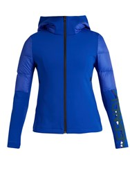 Fendi Logo Print Quilted Down Performance Jacket Blue