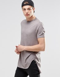 Asos Super Longline T Shirt With Stepped Hem And Layered Neck Trim Elephant Skin