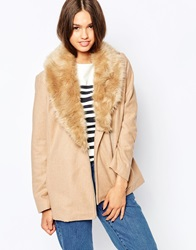 Barney's Originals Coat With Deep Faux Fur Collar Camel