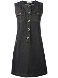 Coach Front Placket Denim Dress Black