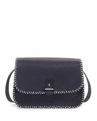 Lacontrie Rohan Medium Whipstitched Crossbody Bag Navy White Black Navy White And Black
