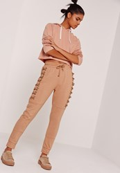 Missguided Sarah Ashcroft Lace Up Eyelet Side Joggers Nude Grey