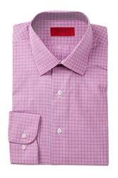 Alexander Julian Check Print Long Sleeve Tapered Fit Shirt Pink