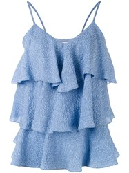 Paul And Joe Tiered Ruffled Tank Top Women Silk Polyamide Polyester 2 Blue