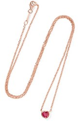 Anita Ko Heart 18 Karat Rose Gold Ruby Necklace