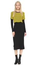 Opening Ceremony Dimensional Thermal Layered Dress Racer Yellow Multi