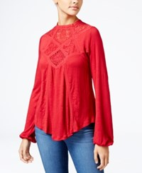 American Rag Lace Inset High Low Peasant Top Only At Macy's Chilli Pepper
