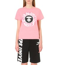 Aape By A Bathing Ape Logo Print Cotton Jersey T Shirt Pink