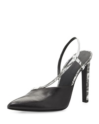 Alexander Wang Kayla Asymmetric Leather Pump With Slingback Black White