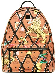 Mcm Printed Backpack Brown