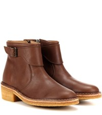 A.P.C. Leonie Leather Ankle Boots Brown