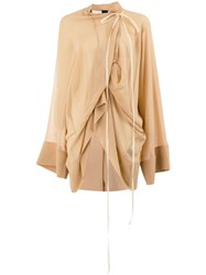 Vera Wang Ruched Blouse Neutrals