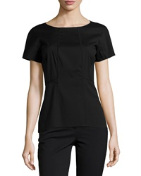 Lafayette 148 New York Short Sleeve Fitted Blouse Black