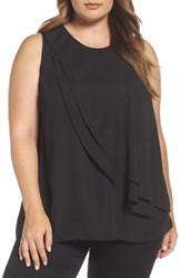 Vince Camuto Plus Size Women's Tiered Ruffle Front Blouse Rich Black