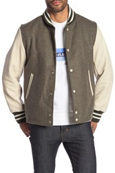 Rag And Bone Leather Panel Wool Varsity Jacket Hunter Mln