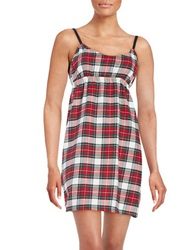 Lord And Taylor Cotton Plaid Nightgown Red Vanilla