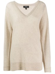 Theory Knitted Cashmere Sweatshirt Neutrals
