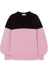 Alexander Mcqueen Two Tone Ribbed Cashmere Sweater Pink
