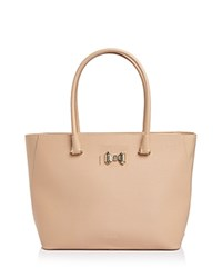 Ted Baker Tinsley Curved Bow Zip Large Leather Tote Taupe Silver