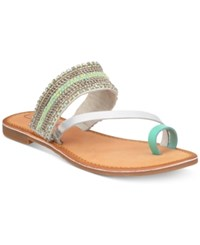 Callisto Sari Embellished Flat Sandals Women's Shoes Turquoise