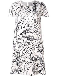 Eggs Twig Print Short Sleeve Dress White