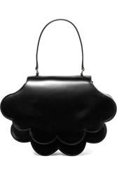 Simone Rocha Flower Bean Glossed Leather Tote Black