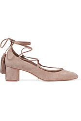 Schutz Ariana Lace Up Suede Pumps Taupe