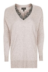 Topshop Longline Nep Lace V Neck Knitted Jumper Pale Pink