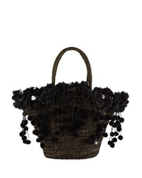 Flora Bella Kailua Straw Beach Tote Bag With Fringe And Pompom Trim Black
